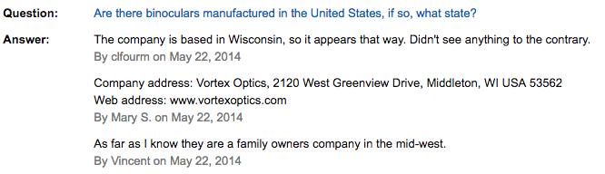 ボルテックス双眼鏡 ラプター8.5x32 VORTEX RAPTOR 8.5x32 質問と回答