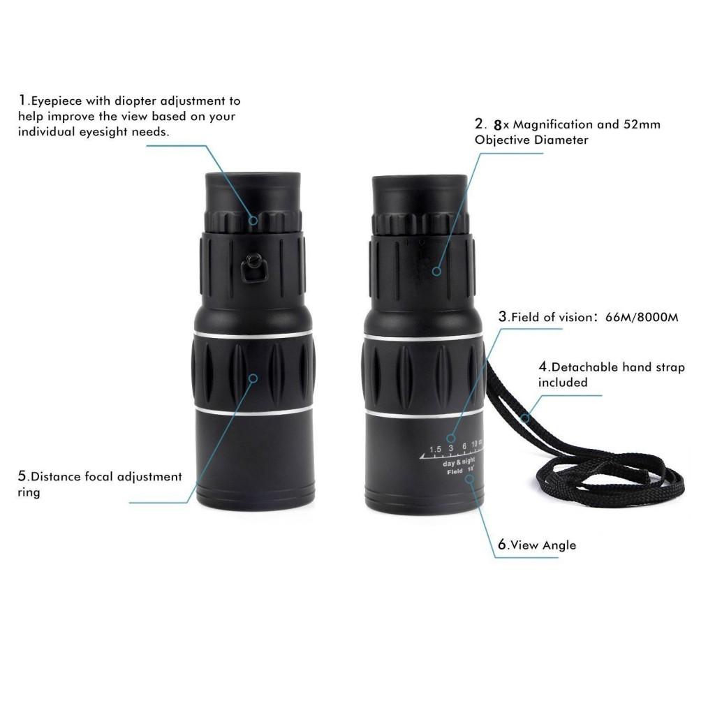 防災におすすめ(オフフ)Ohuhu 8倍率 レンズ 16X52 単眼鏡 TM652 二焦点 防水 小型は低価格で高スペックしかも防水機能